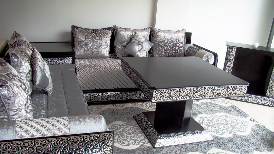 Best Salon Marocain Moderne Noir Et Argent Images - House Design ...