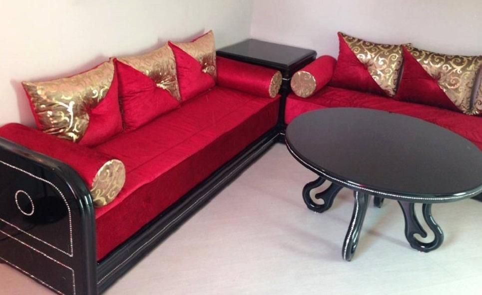 Canapés Salon Marocain Moderne Rouge Et Noir