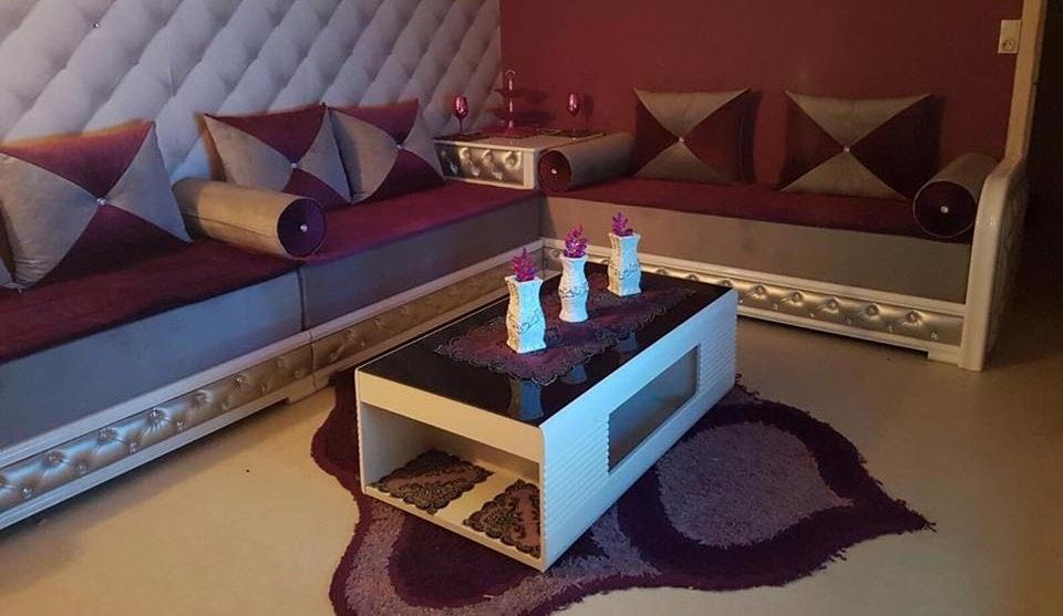 Modèles salon marocain moderne noir et blanc - Déco Salon Maroc