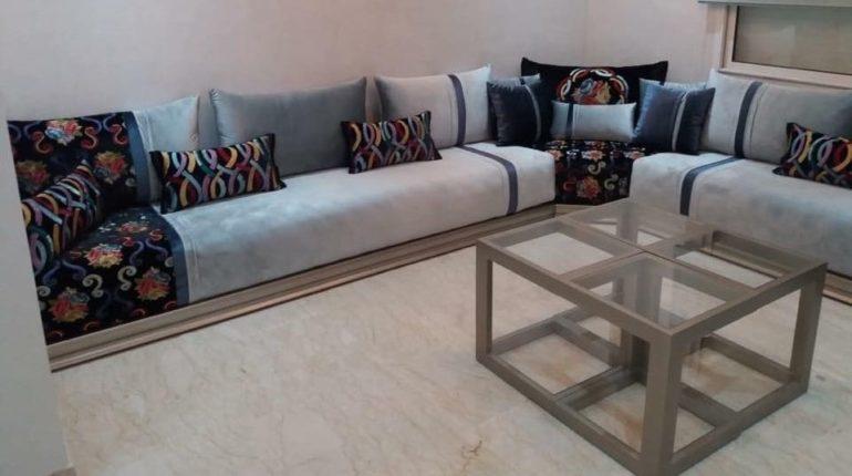 Salon marocain moderne beige marron Archives - Déco Salon Maroc