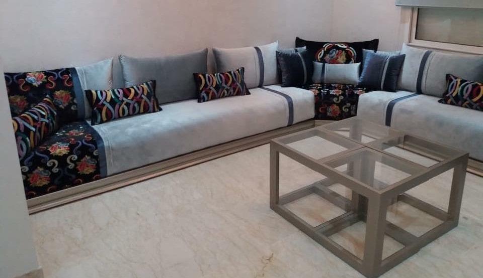 Salon marocain moderne gris et bleu Modèles de luxe - Déco Salon Maroc