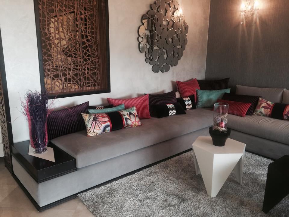 Salon marocain moderne gris et bleu Modèles de luxe – Déco ...